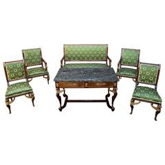 Six Piece Empire Style Salon Suite with Bronze Ornaments, France, 19th Century