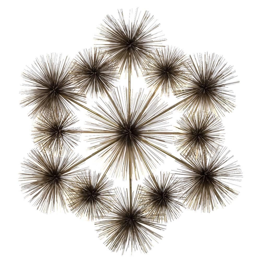 large pom pom starburst metal wall sculpture by curtis jere for sale at 1stdibs. Black Bedroom Furniture Sets. Home Design Ideas