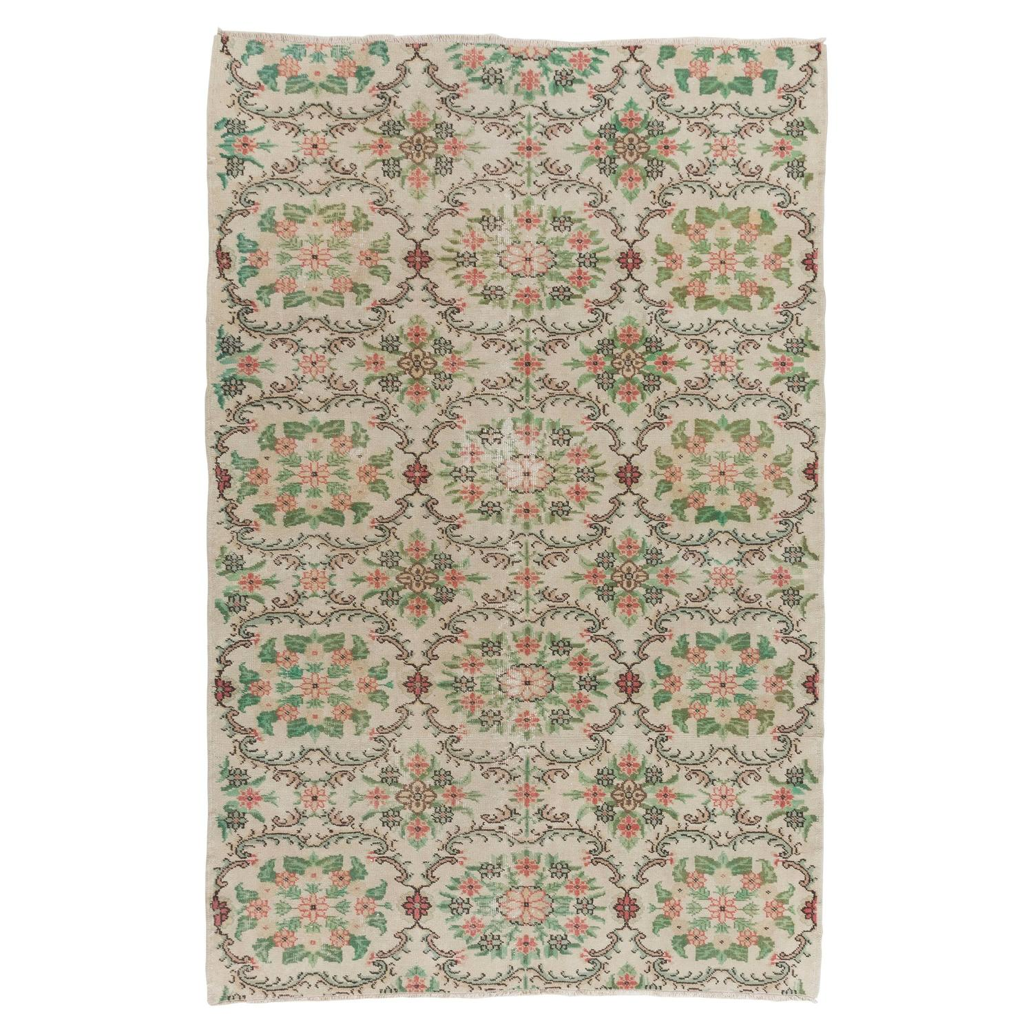 Floral Mid-Century Anatolian Rug In Soft Pink, Green And