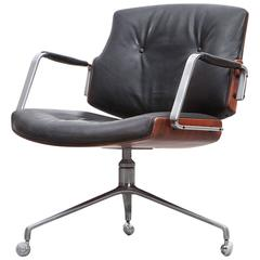 1960's brown wood and black leather Swivel Chair by Fabricius and Kastholm 'f'