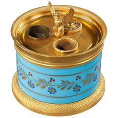 Charles X Inkstand in Blue Opaline and Gilt Bronze