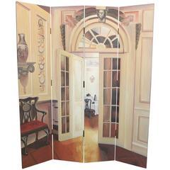 Trompe-l'oeil Four-Panel Folding Screen