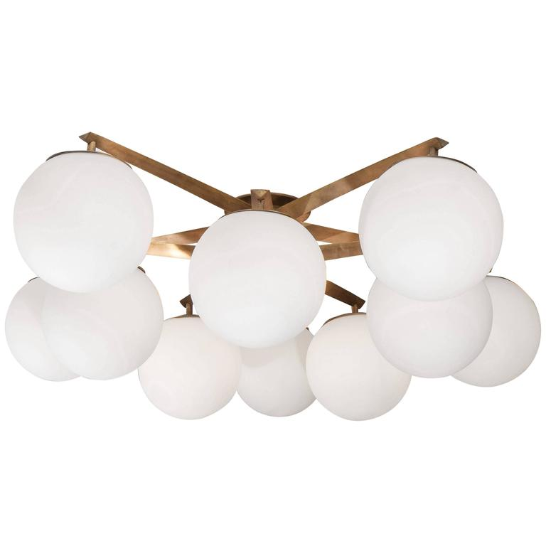 Custom Antique Brass Ten-Globe Ceiling Light