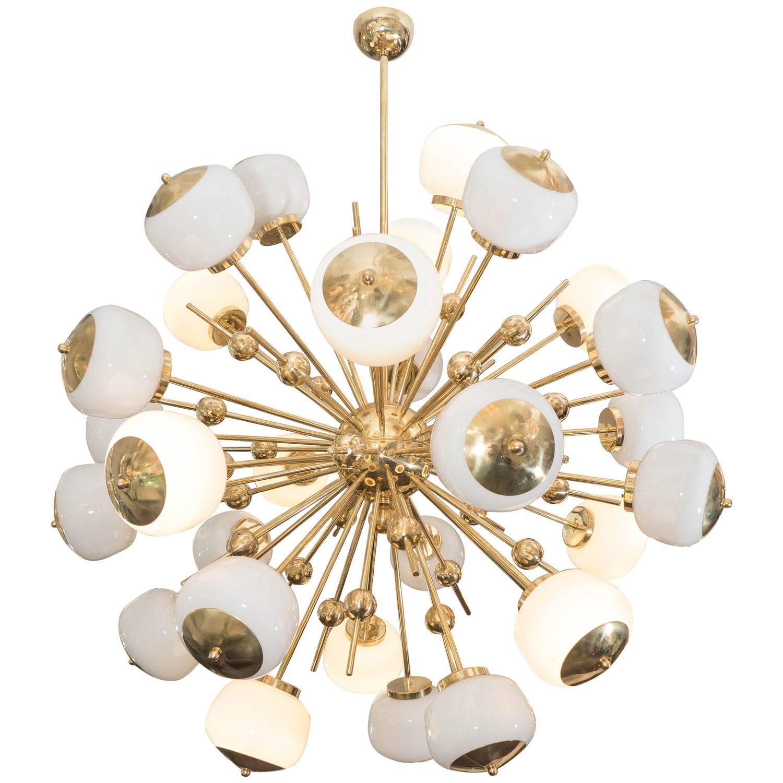 Murano Brass and Milk Glass Sputnik Chandelier For