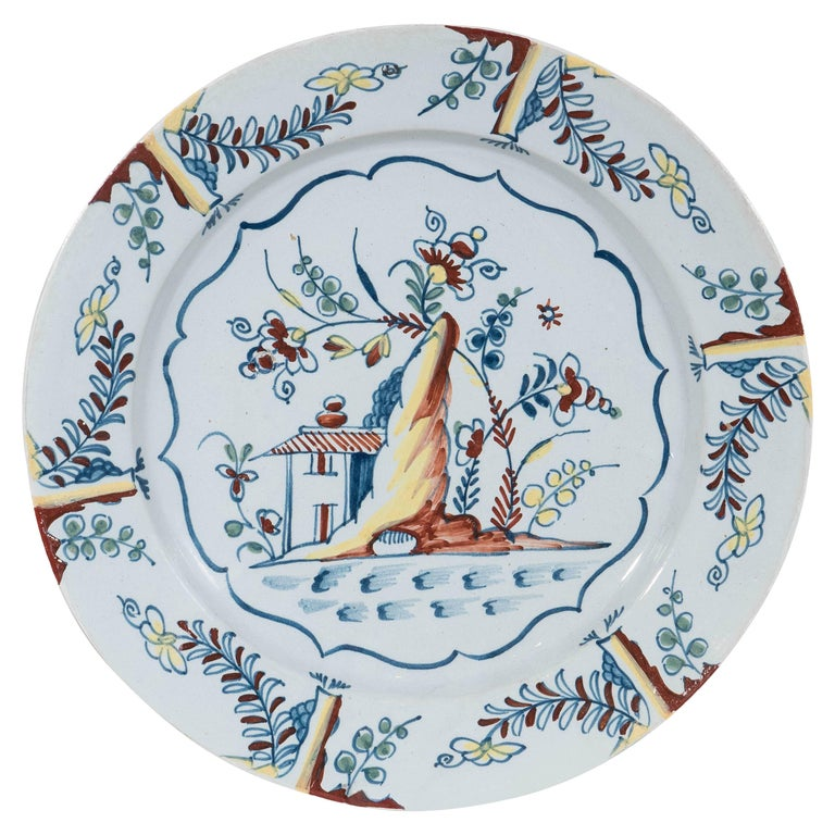Antique Bristol Delft Charger Painted in Polychrome Colors circa 1760 For Sale