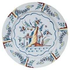 Antique Bristol Delft Charger Painted in Polychrome Colors