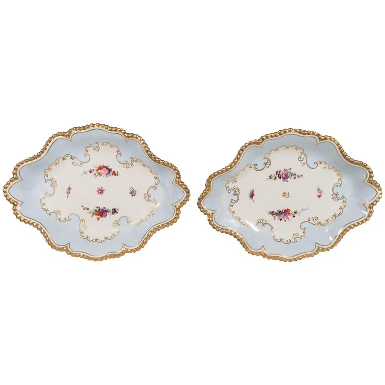 Pair Antique Worcester Porcelain Dishes