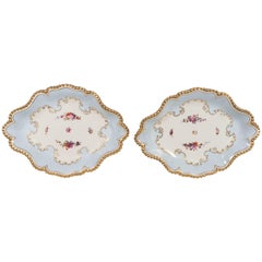 Pair Antique Worcester Porcelain Dishes Made in England circa 1820
