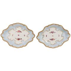 Pair Antique Worcester Porcelain Dishes