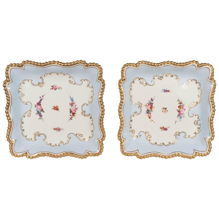 Pale Blue Worcester Porcelain Square Dishes