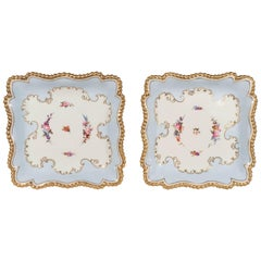 Pale Blue Worcester Porcelain Square Dishes Made in England circa 1820