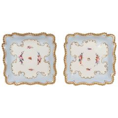 Pale Blue Worcester Porcelain Square Dishes