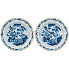 Pair of Blue and White Dutch Delft Chargers with Chinoiserie Garden Scenes