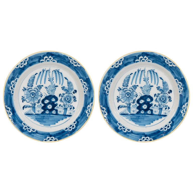 Antique Delft  Blue and White Chargers circa 1770 For Sale