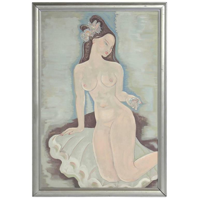 Large-Scale Art Deco Nude Painting