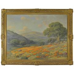 Poppies Oil on Canvas Hillside Near Bakersfield, CA by Angel Espoy
