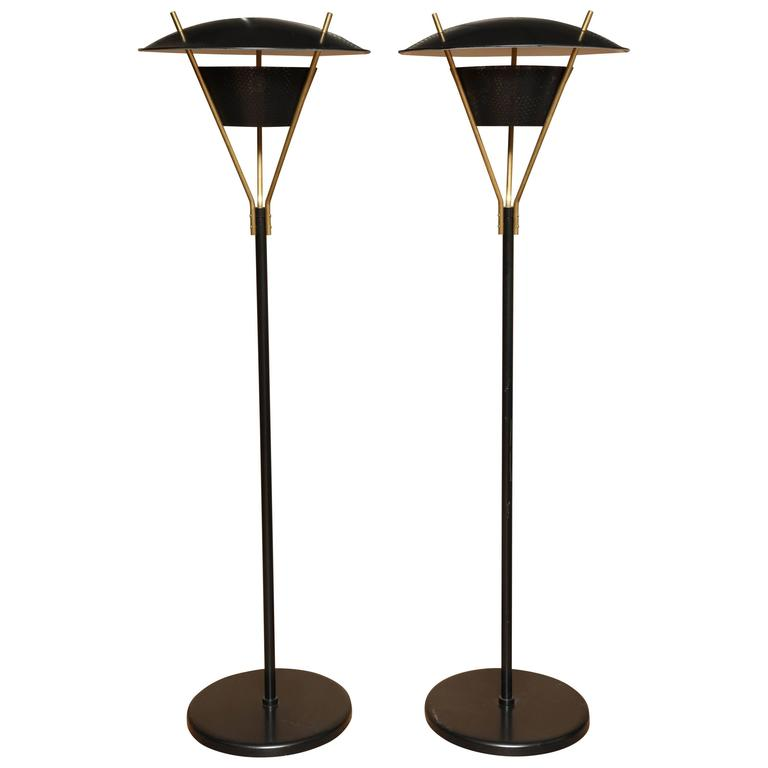 Pair of 1950s Gerald Thurston Brass and Black Metal Floor Lamps