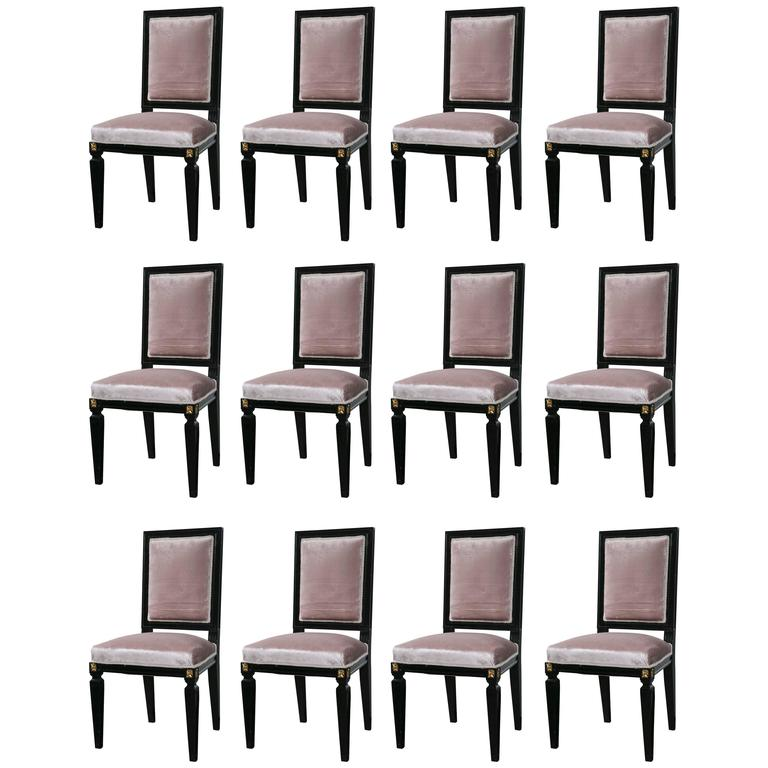 Set of 12 Mason Jansen Style Ebonized Dining Chairs Hollywood Regency Style
