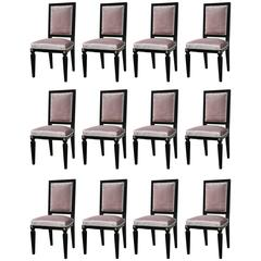 Set of 12 Mason Jansen Style Ebonized Dining Chairs Hollywood Regency Style