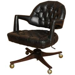 "Dunbar ""Executive"" Swivel Office Chair in Black Leather by Edward Wormley"
