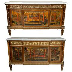 Pair of Louis XVI Style Monumental Compatible French Chinoiserie Commode Chests