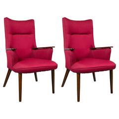 Pair of High Back Mid-Century Modern Rosewood Armchairs Hans Wegner Style
