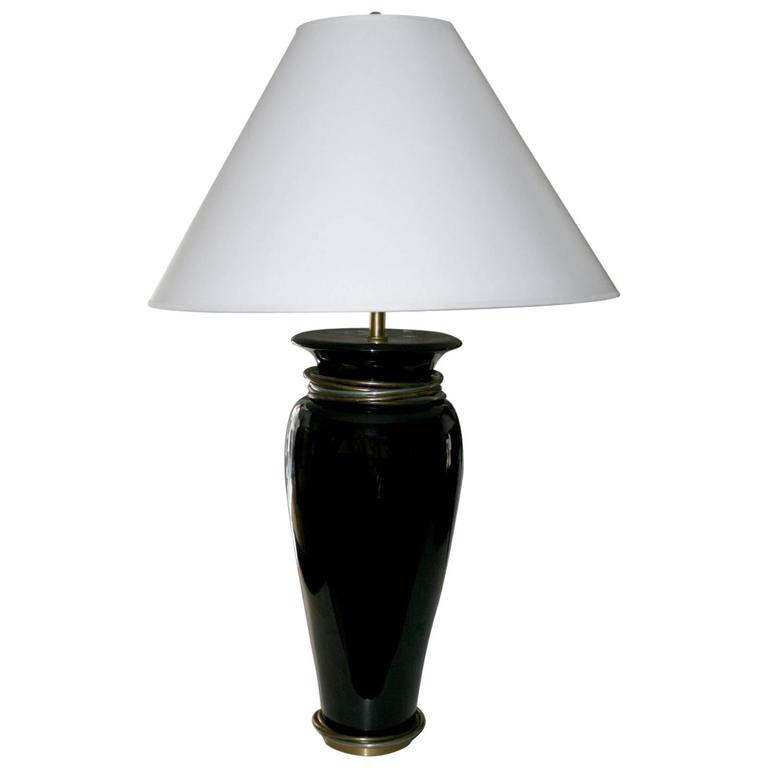 20th Century Black Porcelain Lamp