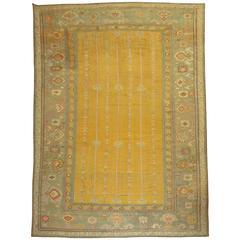 Antique Turkish Ghiordes Carpet in Yellow