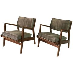 Pair of Vintage Walnut Lounge Chairs by Jens Risom 'Labelled'
