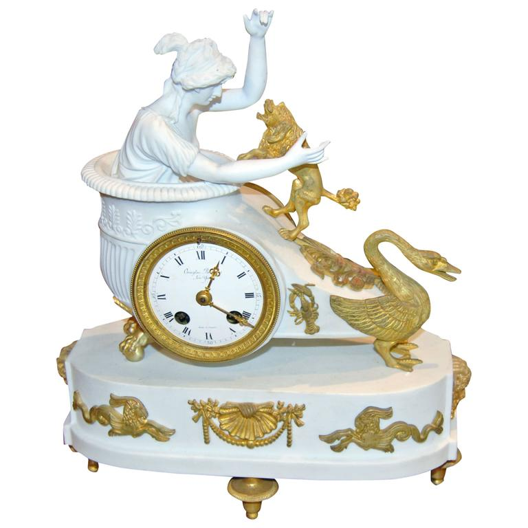 Empire Bisque and Bronze Mantel Clock For Sale