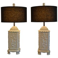 Pair of Ceramic Asian, Bamboo and Floral Motif Cream/White Table Lamps, Italy