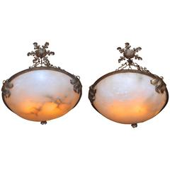 Pair of Large Alabaster and Wrought Iron Pendant Lights