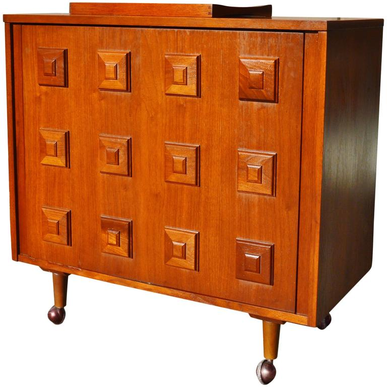 Fab Mad Men Walnut Swivel Open Bar Cabinet Stacked Squares Molding Detail For