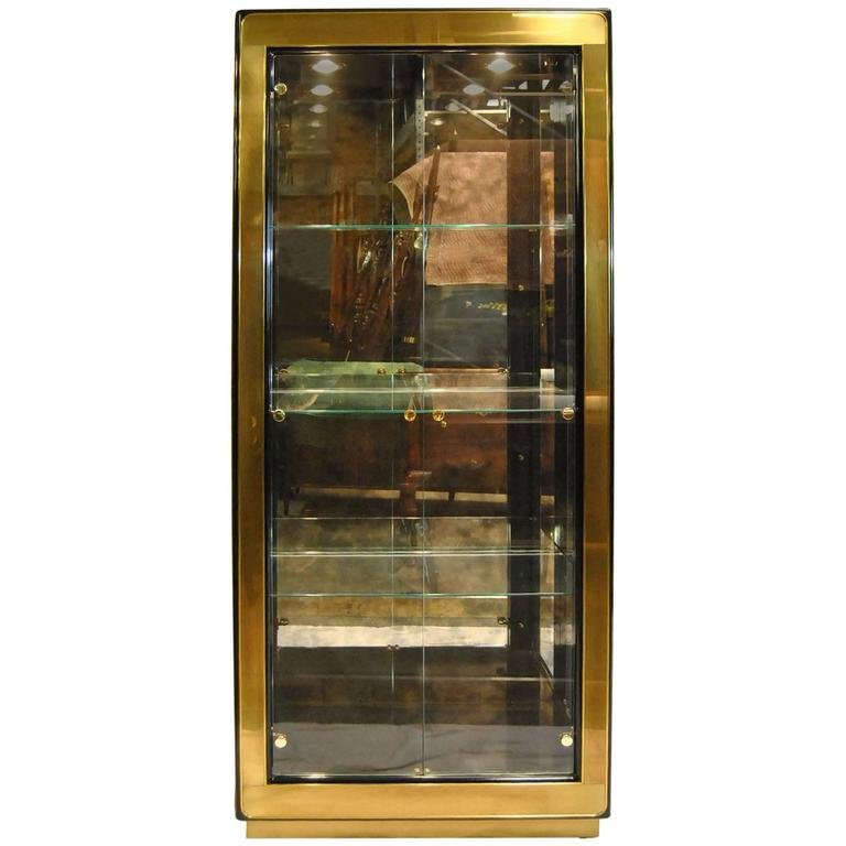 Modern Black Lacquer And Glass Curio Display Cabinet By Mastercraft Furniture For Sale