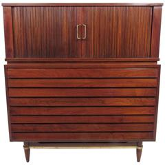 Vintage Walnut Highboy Dresser, Tambour Cabinet by American of Martinsville