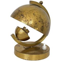 Art Deco Brass Lamp in the Style of Jacques Adnet
