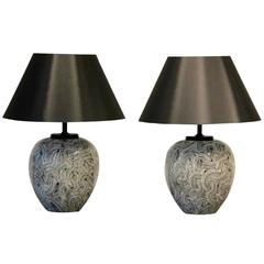 Matching Pair of Mid-Century Ceramic Table Lamps for Pander, Holland
