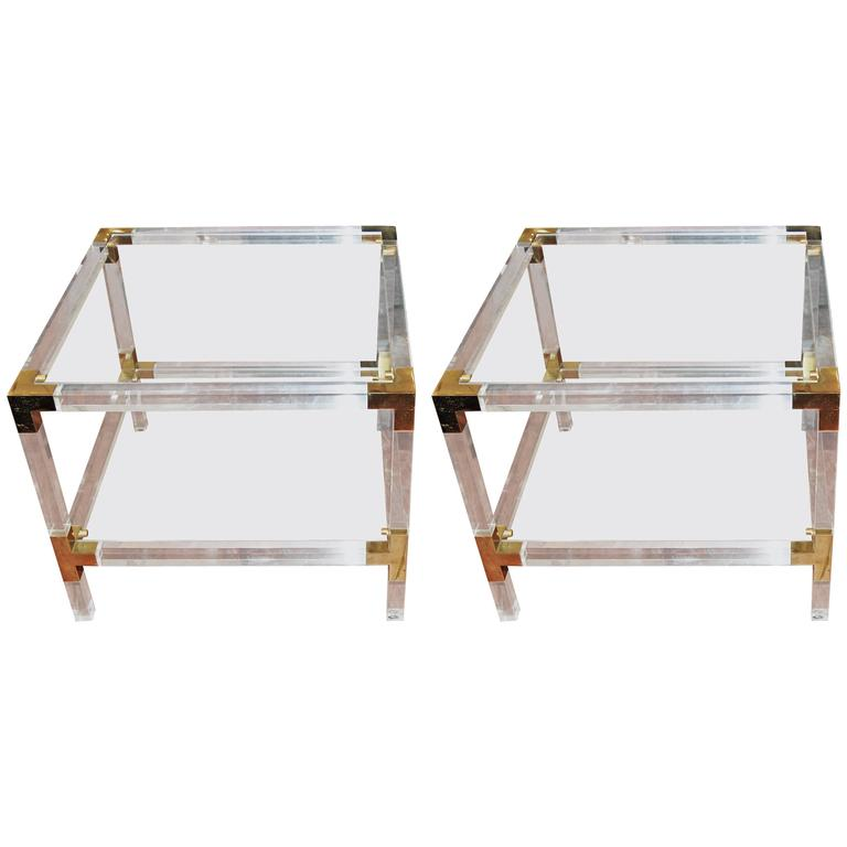 Matched Pair of Lucite and Brass