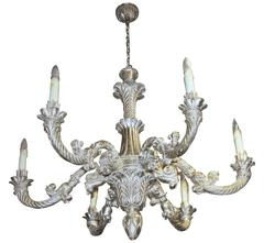 Large French Louis XV Style White Gold Giltwood Chandelier