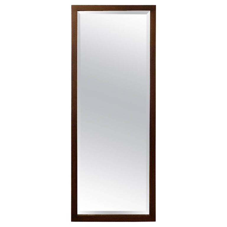 Craftsman Oak Frame Full Length Beveled Mirror For Sale