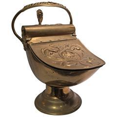 Antique Brass Art Nouveau Coal Scuttle with Shovel
