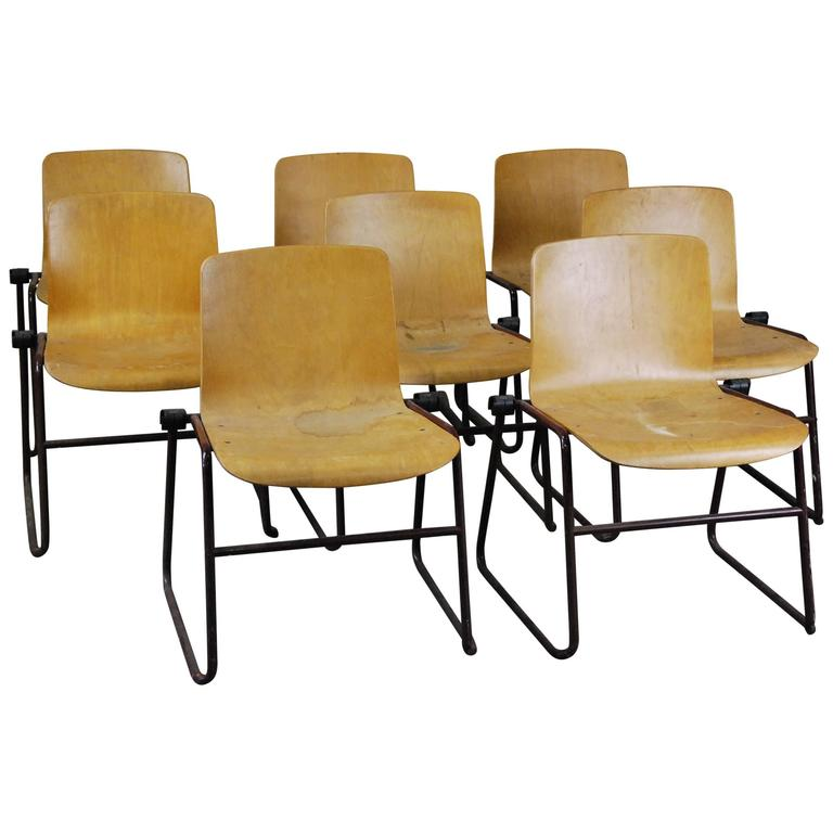 Set of Eight J Hayward Kinetics Bent Plywood Chairs, Mid-Century