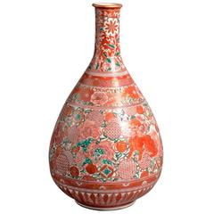 Early 19th Century Decorated Kutani Porcelain Bottle Vase