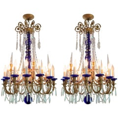 Wonderful Pair French Doré Bronze Cobalt Blue Glass Crystal Regency Chandeliers