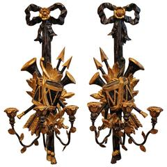 Pair of Italian Painted Wood and Metal Three Light Sconces
