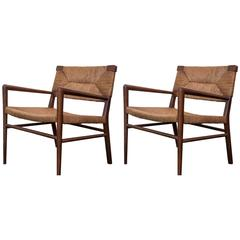 Pair of Vintage 1950s Smilow Walnut and Rush Lounge Chairs