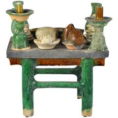 Chinese Big Antique Feast Table Handsome 400 Year Old Sculpture