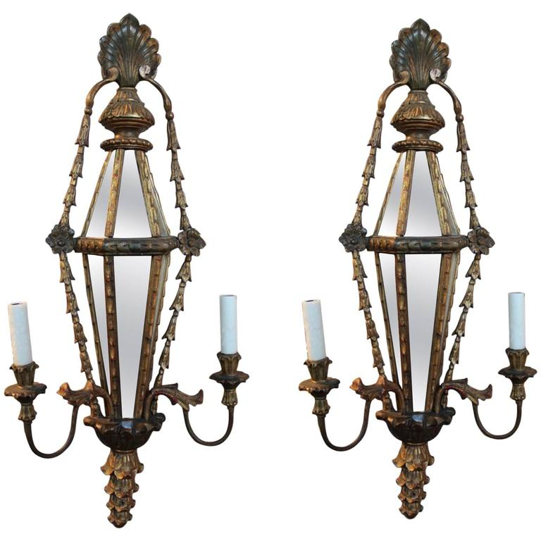 Pair Electric Wall Sconces : Pair of Italian Carved Wood Sconces with Mirrored and Electric at 1stdibs