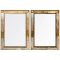 Pair of Giltwood and Antiqued Paneled Mirrors