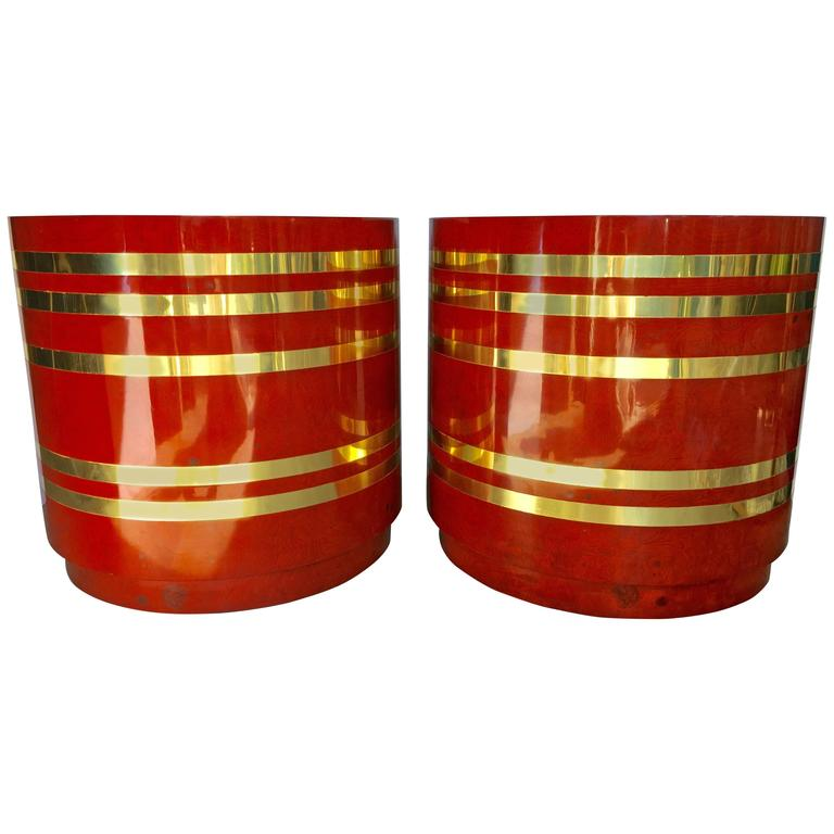 Burled Wood and Brass Striped Side Drum Tables, Pair